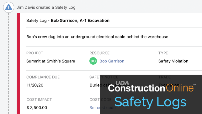 Introducing Safety Logs for ConstructionOnline Daily Logging
